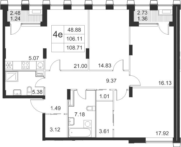 4-к.кв (евро), 111.31 м²