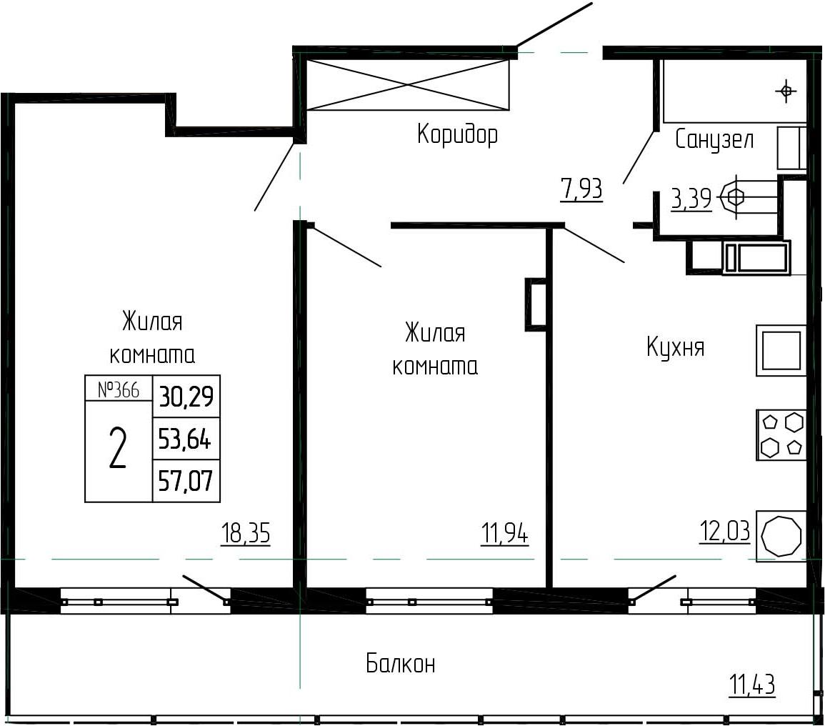 2-к.кв, 65.07 м²