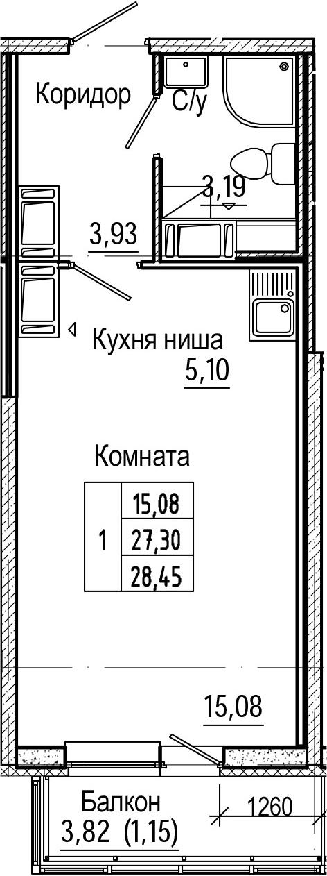Студия, 28.45 м², 21 этаж