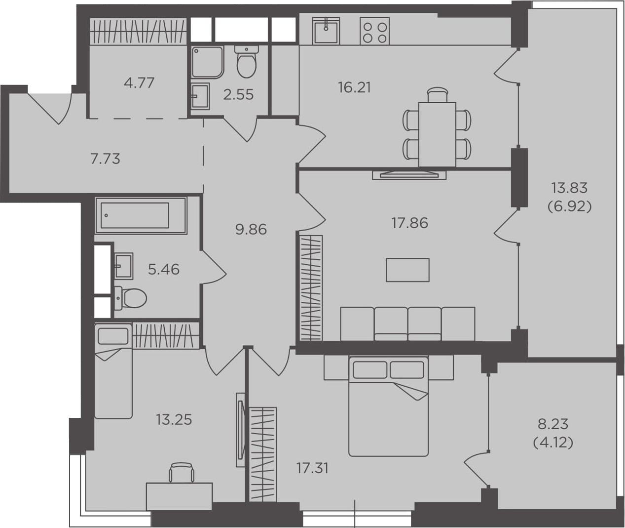 3-к.кв, 106.04 м², 25 этаж