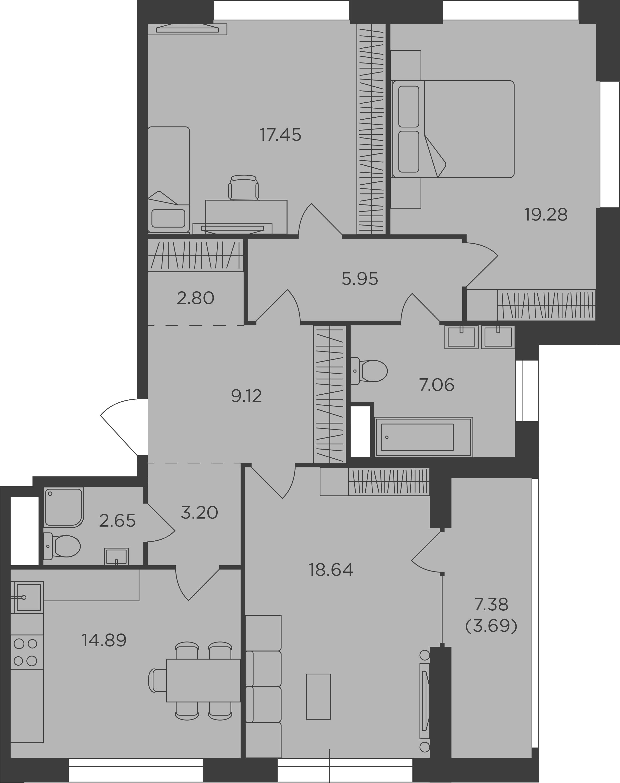 3-комнатная, 104.73 м²– 2