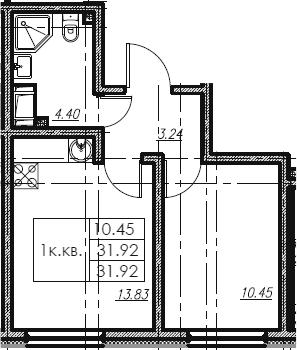 1-к.кв, 31.92 м²