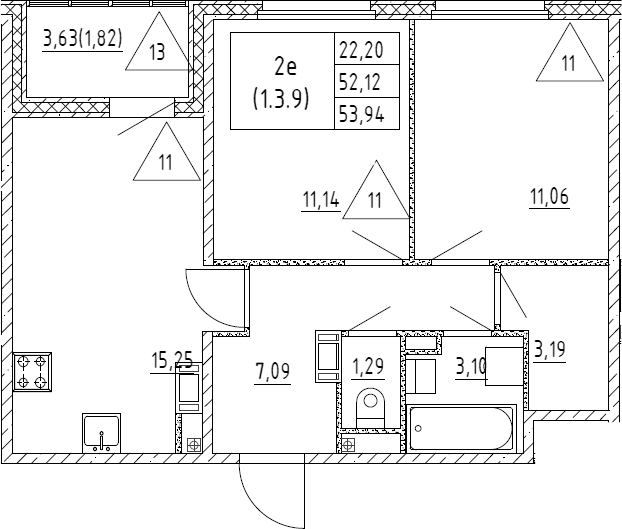3Е-к.кв, 53.94 м², от 3 этажа