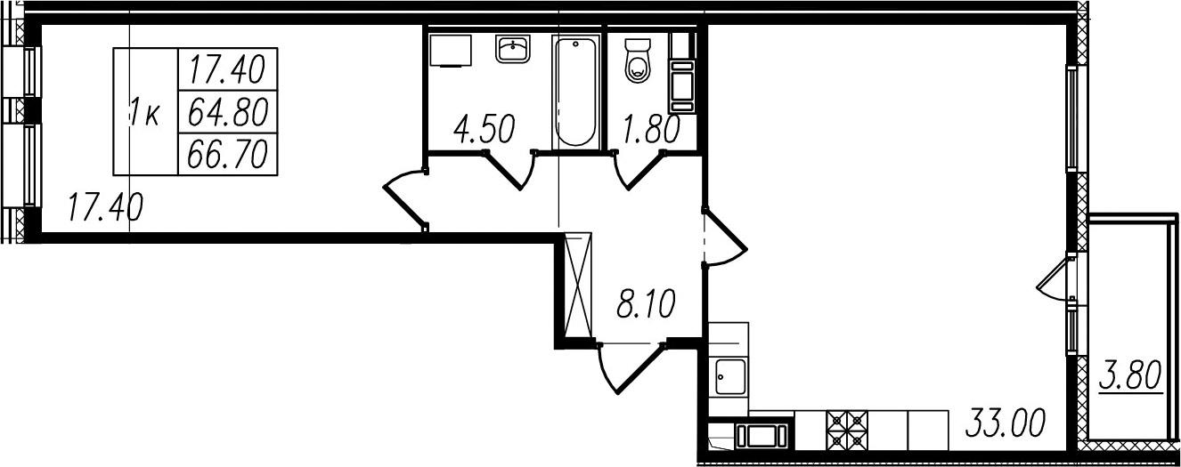 1-к.кв, 68.6 м²