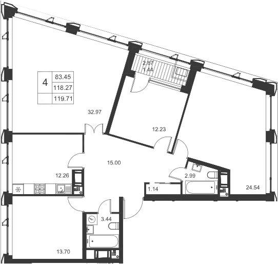 4-к.кв, 119.71 м²