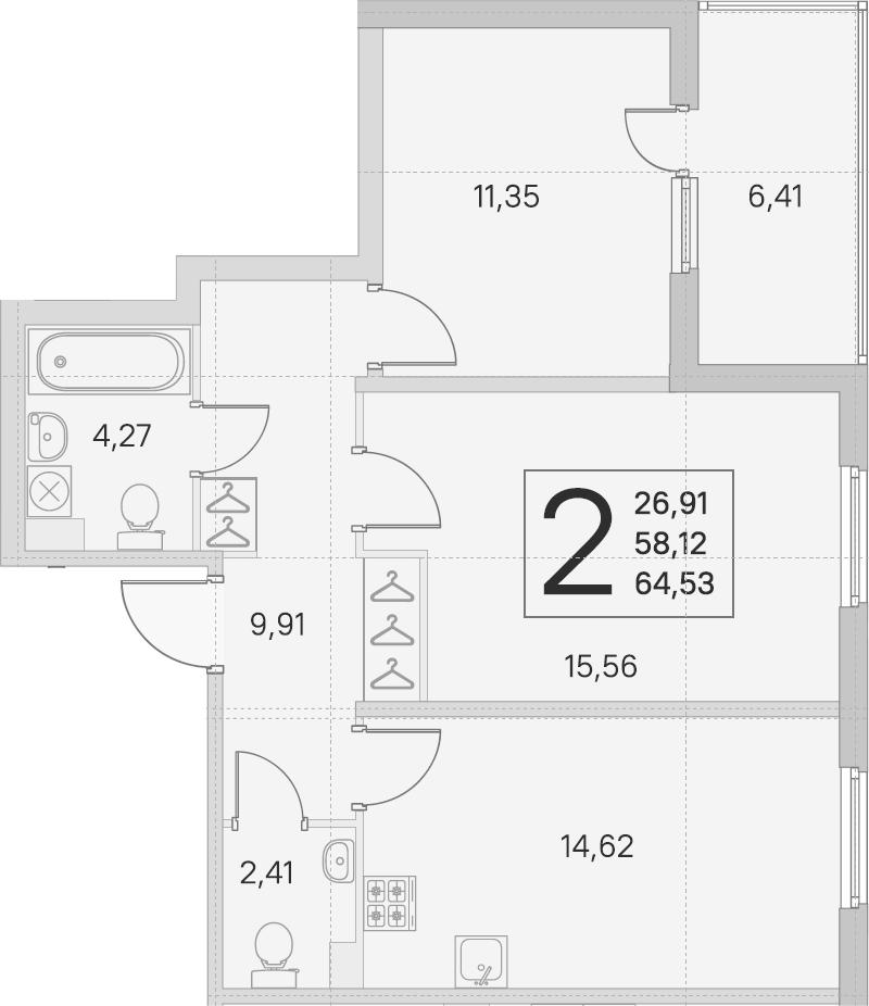 2-комнатная, 58.12 м²– 2