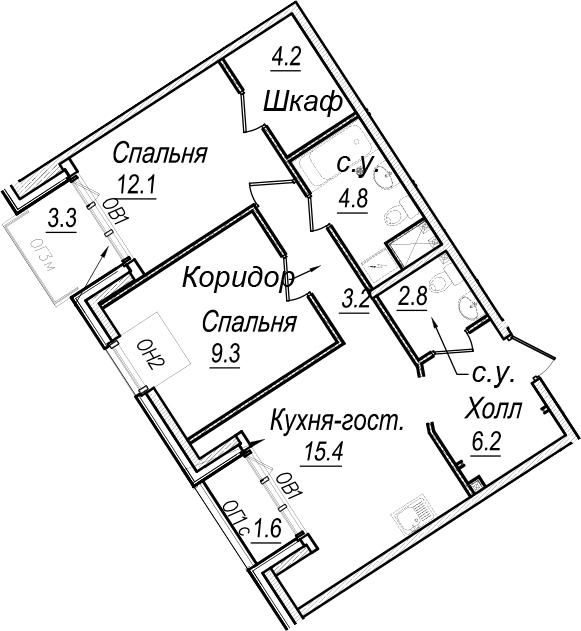 3Е-к.кв, 64.3 м², 7 этаж