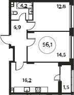 3Е-к.кв, 56.1 м², 3 этаж