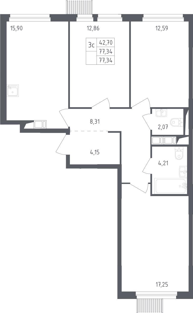 4Е-к.кв, 77.34 м², 12 этаж