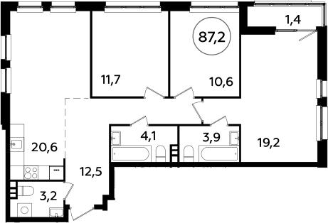4Е-комнатная, 87.2 м²– 2