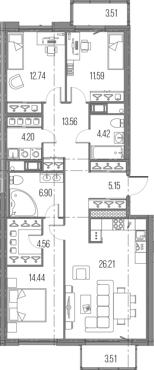 4Е-к.кв, 103.77 м²