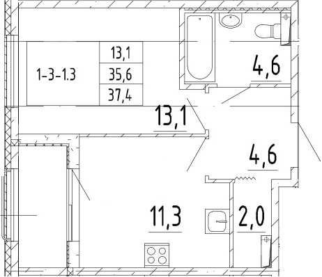1-комнатная квартира, 37.4 м², 2 этаж – Планировка