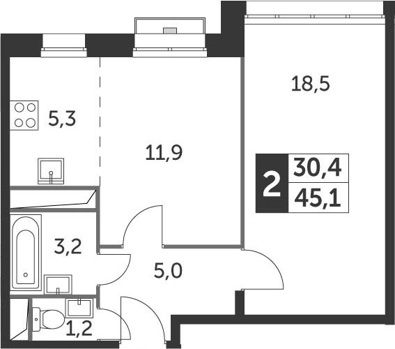 1-к.кв, 45.1 м²