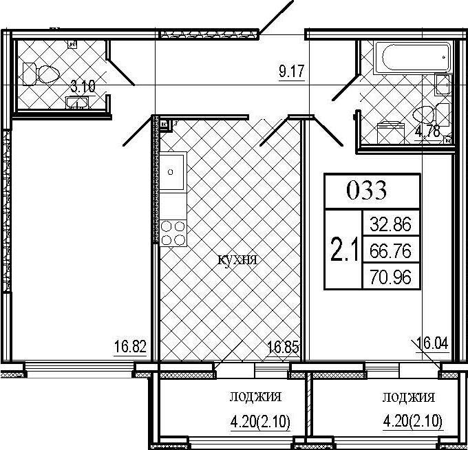 3Е-комнатная, 70.96 м²– 2