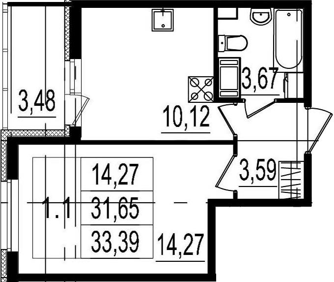 1-комнатная, 31.65 м²– 2