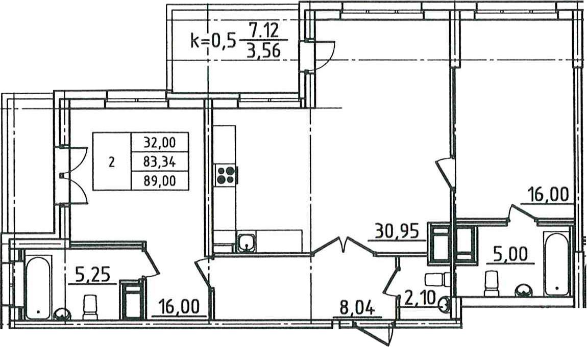 3Е-комнатная, 89 м²– 2