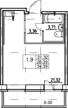 Студия, 28.39 м², 3 этаж