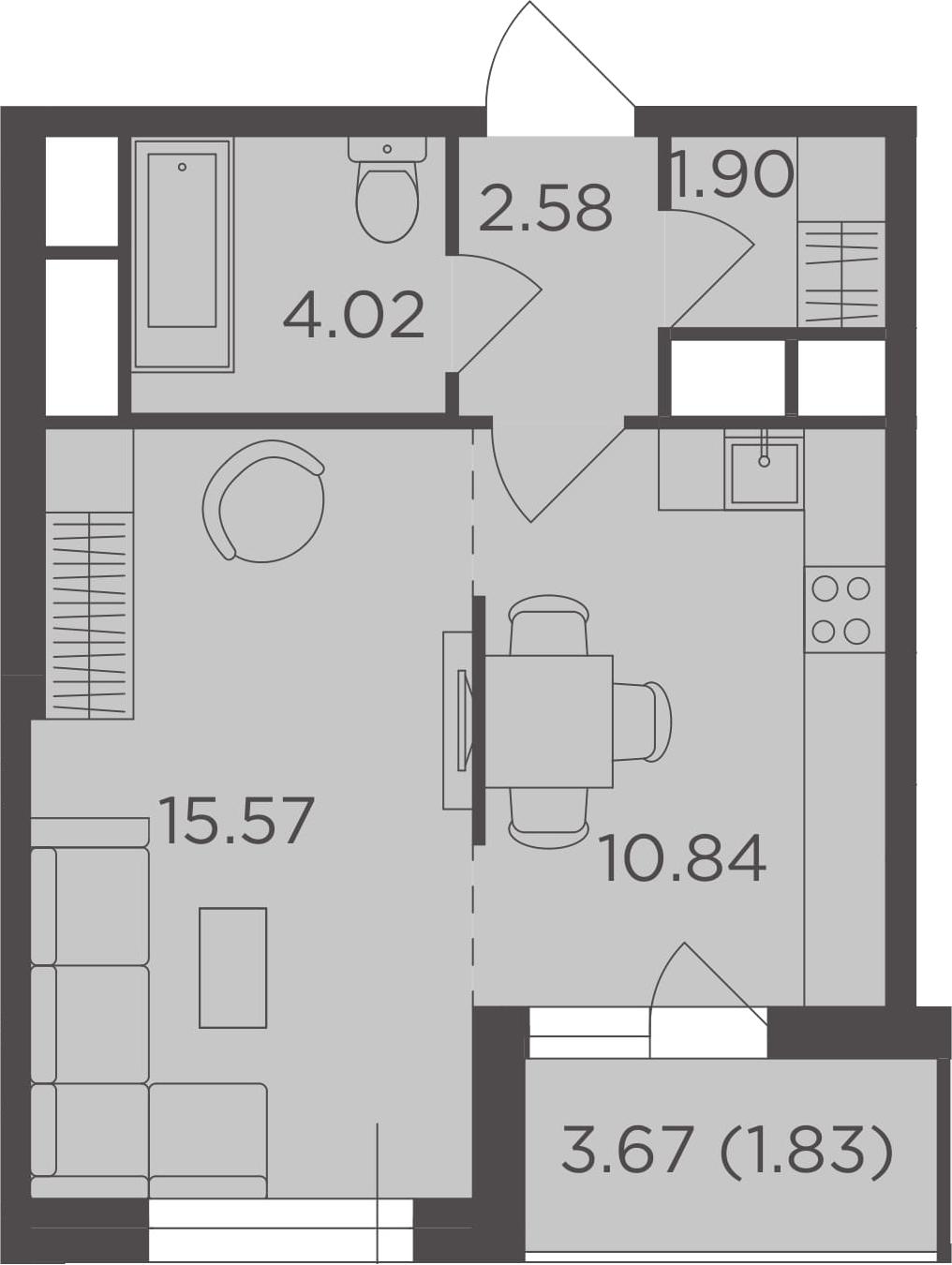 1-к.кв, 36.74 м², 18 этаж