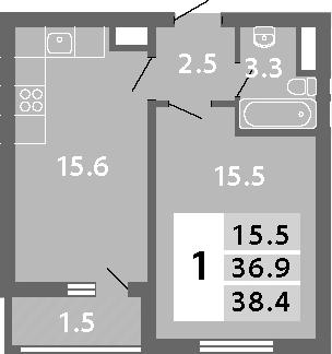 2Е-к.кв, 38.4 м², 13 этаж