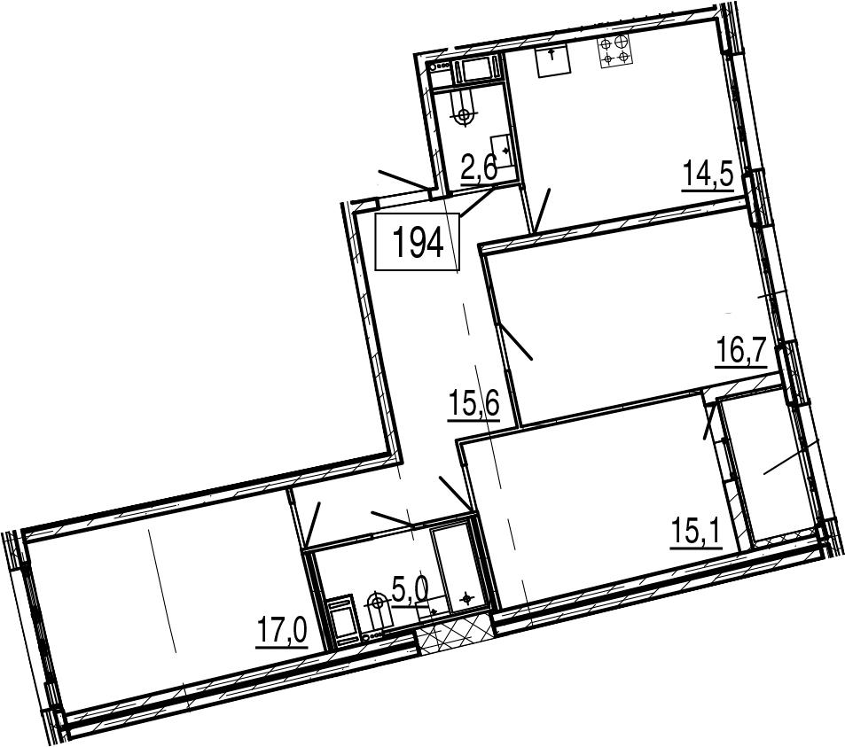 3-к.кв, 88.2 м², 11 этаж