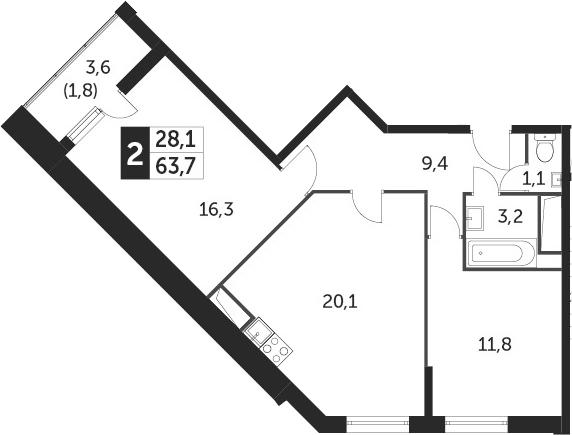 3Е-к.кв, 63.7 м²