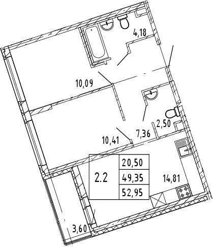 3Е-к.кв, 49.35 м², 2 этаж