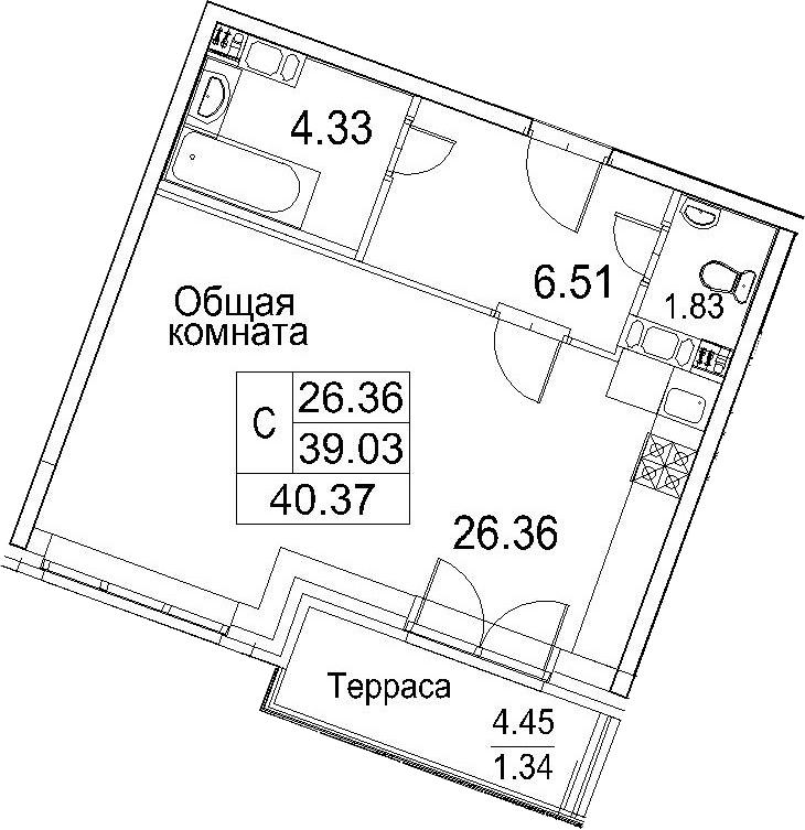 Студия, 43.5 м²
