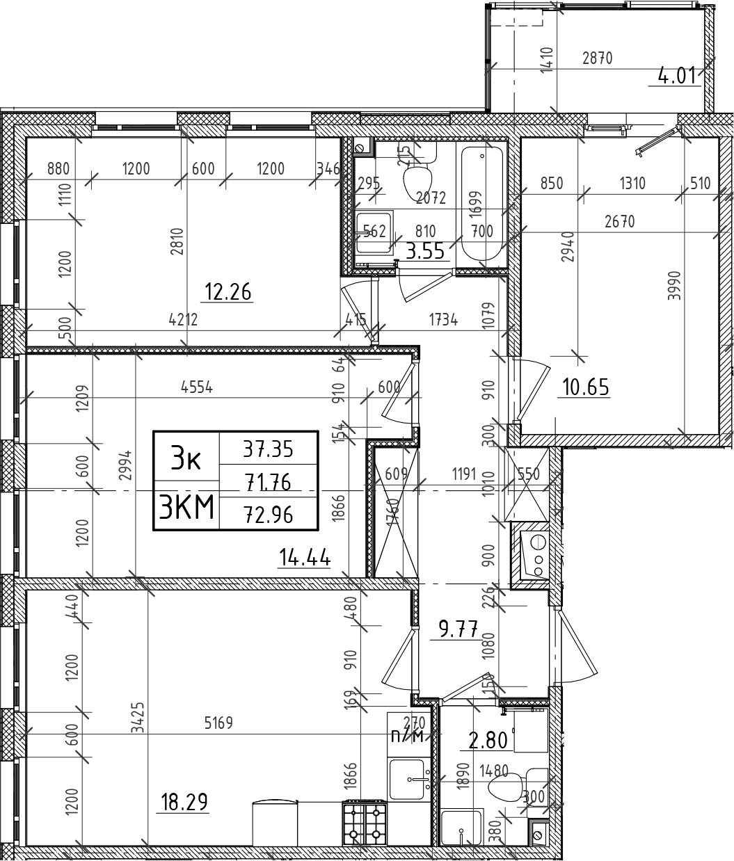 4Е-к.кв, 71.76 м²