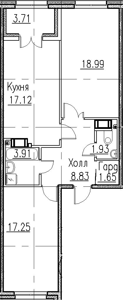 3-к.кв (евро), 73.39 м²