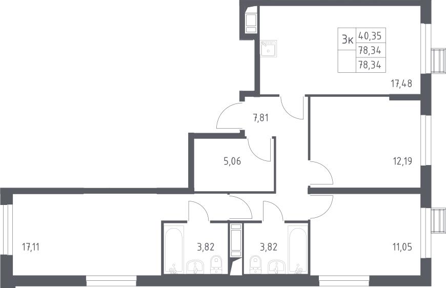 3-к.кв, 78.34 м²