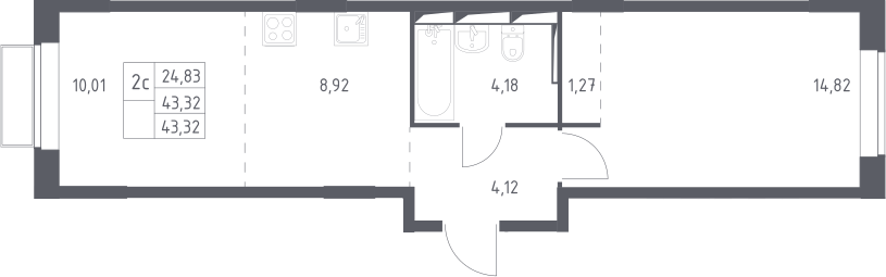 2Е-комнатная, 43.32 м²– 2