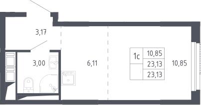 Студия, 23.13 м²– 2
