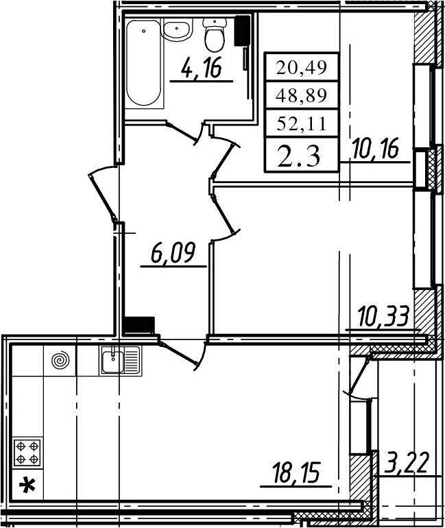 3Е-к.кв, 48.89 м²