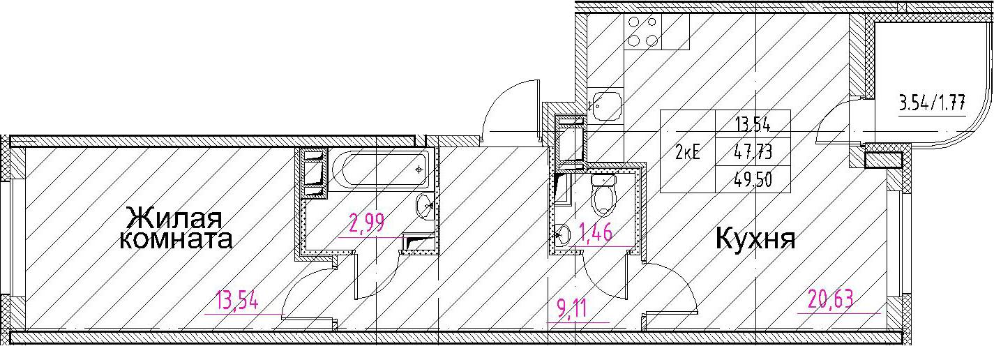 2-к.кв (евро), 51.27 м²