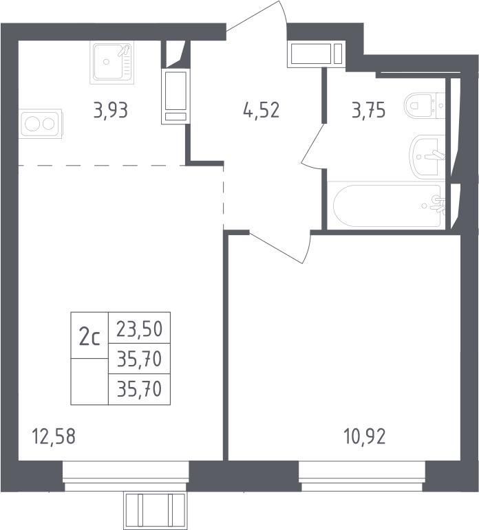 2Е-комнатная, 35.7 м²– 2