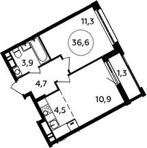 2Е-к.кв, 36.6 м², 14 этаж
