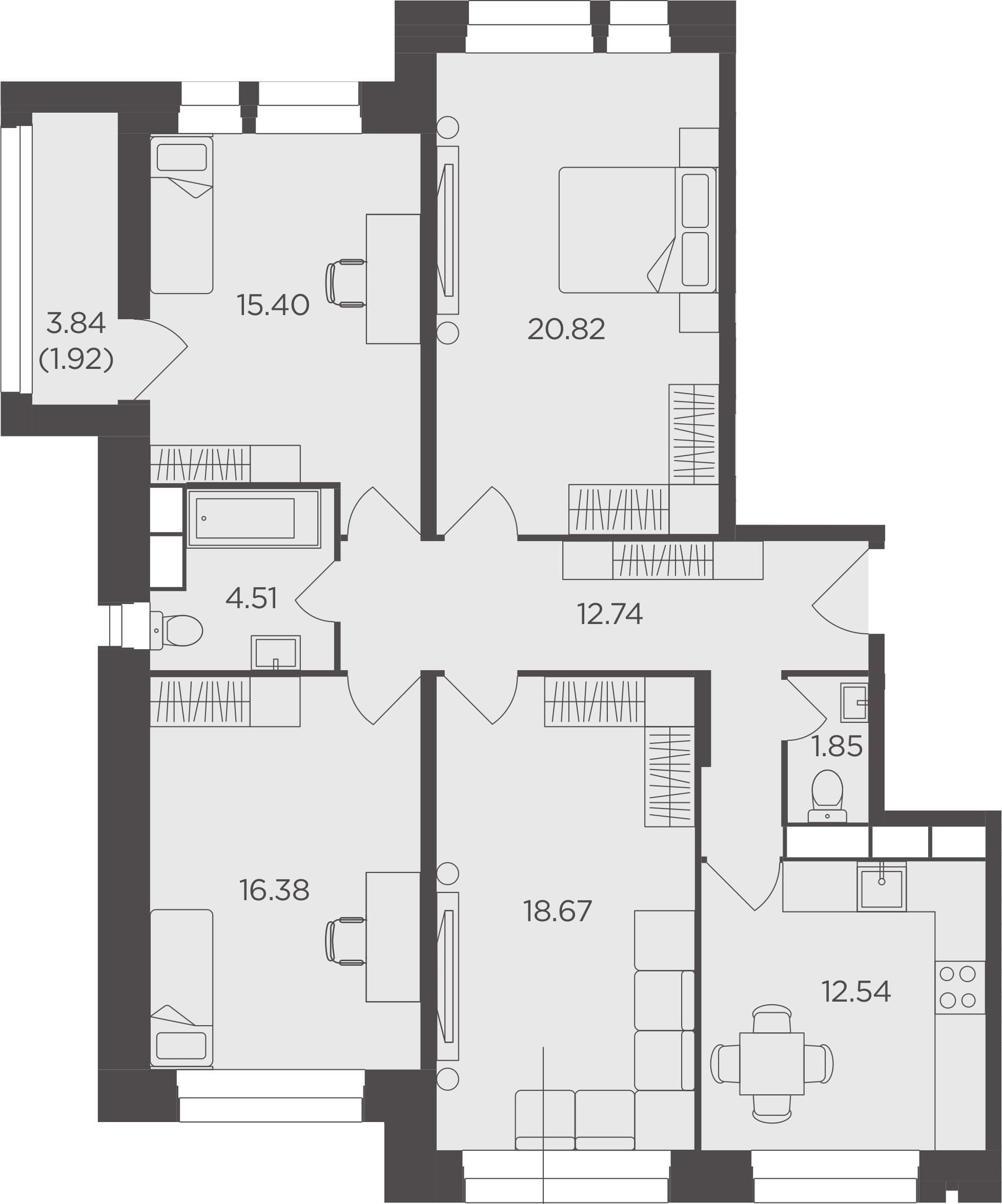 4-комнатная, 104.83 м²– 2