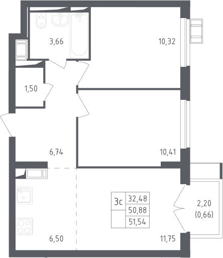 3Е-к.кв, 51.54 м²