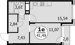 2Е-комнатная, 41.49 м²– 2