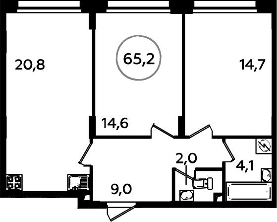 3-к.кв (евро), 65.2 м²
