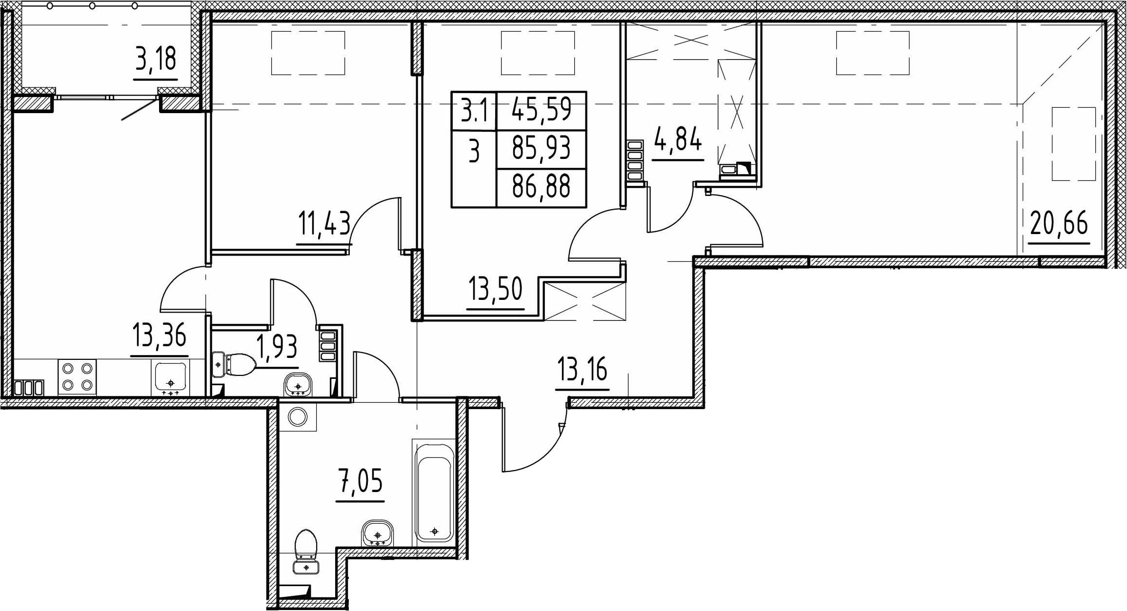 3-к.кв, 85.93 м²