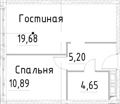 2Е-к.кв, 40.41 м², 22 этаж