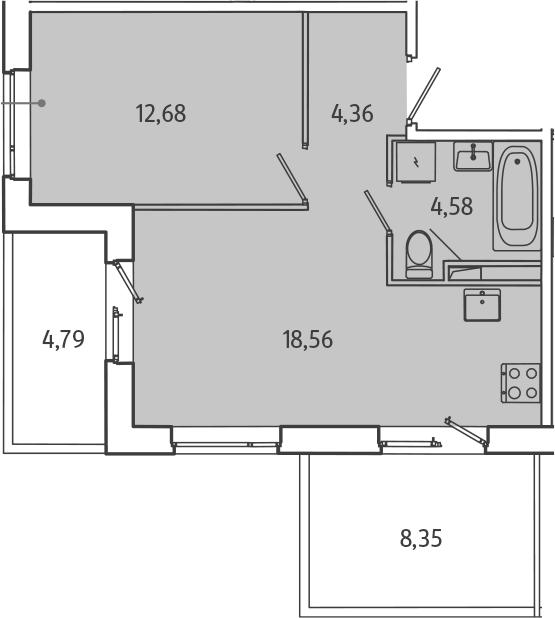 2Е-комнатная, 44.13 м²– 2