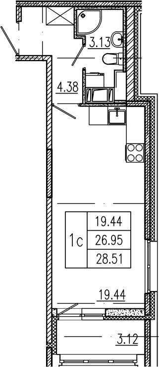 Студия, 26.95 м²– 2