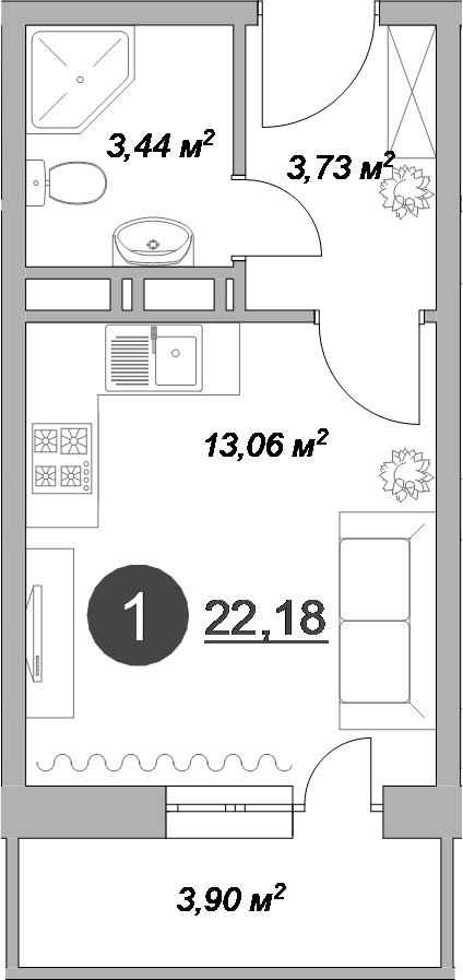 Студия, 22.18 м²– 2