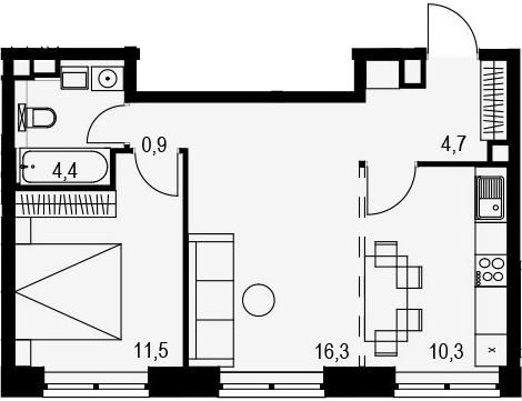 2-к.кв, 48.1 м²