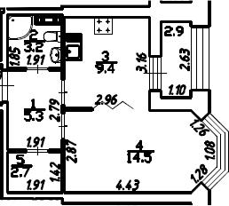1-к.кв, 36.55 м², 13 этаж