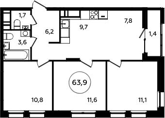4Е-к.кв, 63.9 м², 14 этаж
