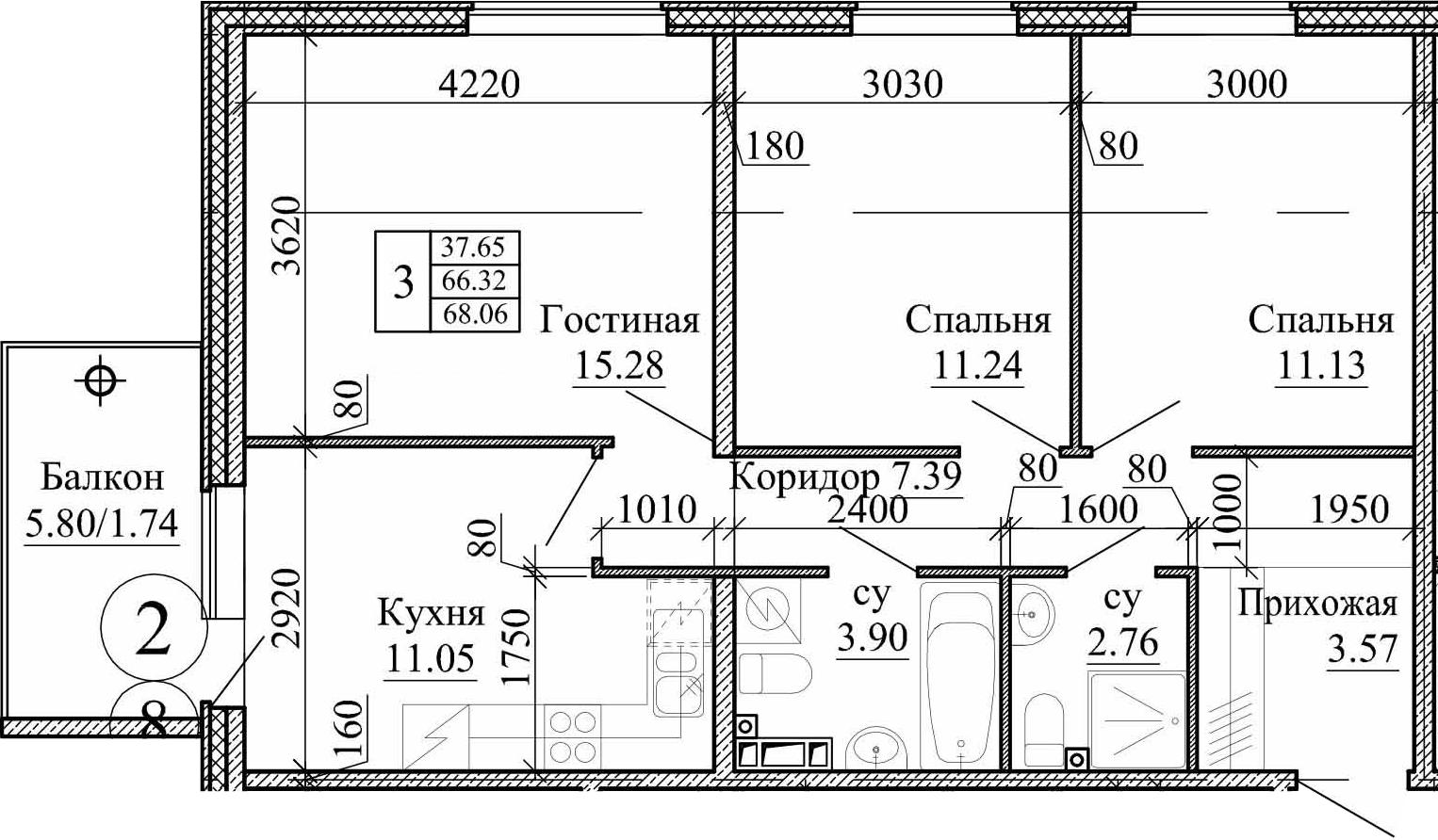 3-к.кв, 68.06 м²