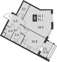 1-комнатная, 45.1 м²– 2